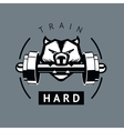Angry dog with dumbbells Sports motivation poster vector image vector image