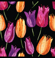 background of colorful drawn tulips vector image