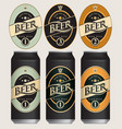 beer labels for three beer cans vector image
