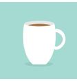 Big coffee cup mug Blue background Flat modern vector image