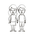 blurred silhouette caricature full body couple in vector image