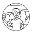 child girl portrait round icon black and white vector image