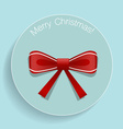 Christmas Greeting Card with Shiny red ribbon vector image