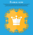 Crown icon sign Floral flat design on a blue vector image vector image