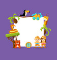 cute african animals and kids in safari outfit vector image vector image