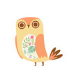 cute owl decorated with floral seamless pattern vector image
