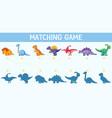 dinosaur shadow matching game vector image vector image