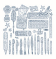 drawing accessories round set vector image
