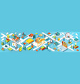 education panoramic banner isometric flat design vector image vector image