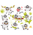flat set of cute lemur in different actions vector image vector image