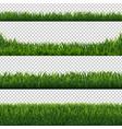 green grass borders set transparent background vector image vector image