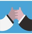 Hand shaking isolated on blue vector image