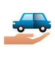 hand with car sedan isolated icon vector image vector image