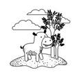 hippopotamus cartoon in outdoor scene with trees vector image