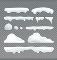 icicles and snowcap elements on transparent vector image vector image