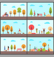 man and woman sitting on bench of park in autumn vector image vector image