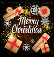 merry christmas card with present boxes top view vector image