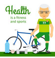 old man and sport equipments lifestyle concept vector image vector image