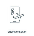 online check in icon outline thin line style from vector image vector image