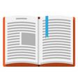 open book with an upside down page and bookmark vector image vector image