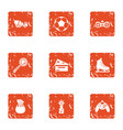 prevent icons set grunge style vector image vector image
