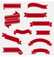 retro red ribbon set isolated transparent vector image vector image