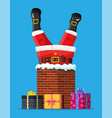 santa claus with gifts stuck in house chimney vector image vector image