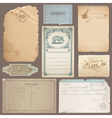 set different vintage papers cards vector image vector image