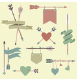 set with ethnic arrows ribbons flags hearts vector image