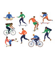 stylized active young people vector image vector image