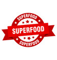 superfood ribbon superfood round red sign vector image vector image