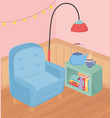 sweet home armchair lamp coffee cup kettle lights vector image vector image