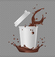 takeaway coffee white paper cup coffee splashes vector image vector image