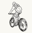 tourist with backpack riding bicycle vector image vector image