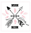 wild free poster indian tribal cross arrows vector image vector image
