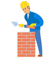 worker building wall with red brick and cement vector image vector image