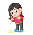 young girl feeling unhappy with ice cream fall vector image vector image