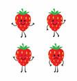set cartoon strawberrys vector image
