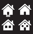 white flat icons Homes isolated on black vector image