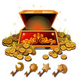 a set of keys from the chest of gold coins vector image