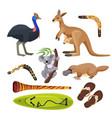 australia symbols isolated koala kangaroo vector image