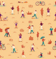 autumn people seamless pattern men women and vector image vector image