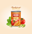 baked beans tin vector image vector image