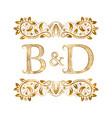 bd vintage initials logo symbol letters b vector image vector image