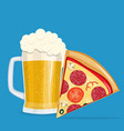 beer and pizza vector image