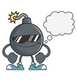 bomb with sunglasses and speech bubble vector image vector image