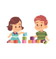 boy and girl play cubes friendly children vector image