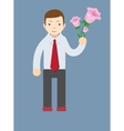 Businessman hand holding bouquet of pink rose vector image