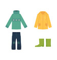 cartoon sweater jeans raincoat and rubber boots vector image vector image