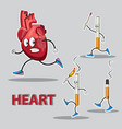 character heart runs after him chasing cigarettes vector image vector image